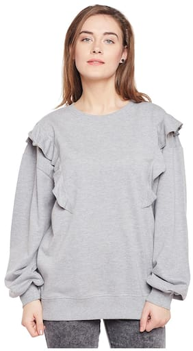 Club York Women Solid Sweatshirt - Grey
