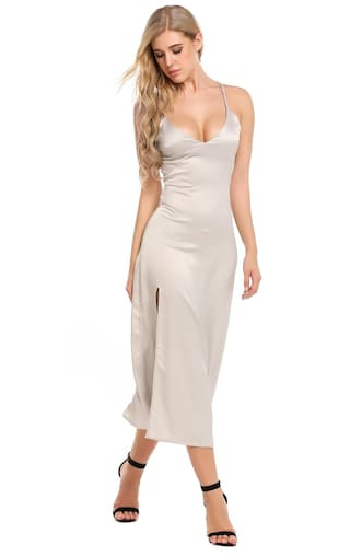 Sexy Party V Neck Spaghetti Dress Women's Strap Split Maxi Solid 4xTZqA