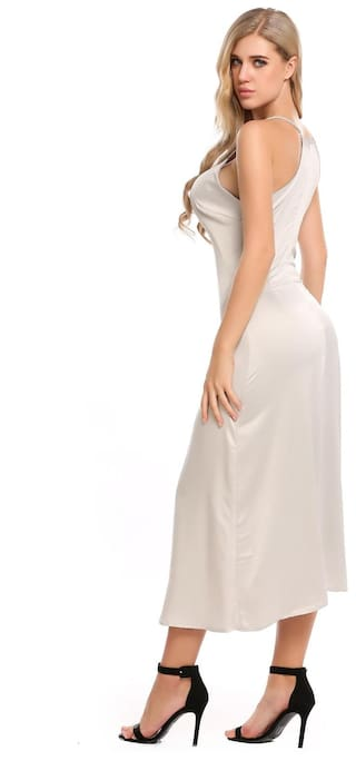 Solid Split Women's Neck Strap Maxi Sexy Spaghetti V Party Dress XTYXq