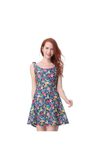 Printed Store LL Style Floral Sleeveless Dress Casual Mini Women'S Flower 5FqOzxPw