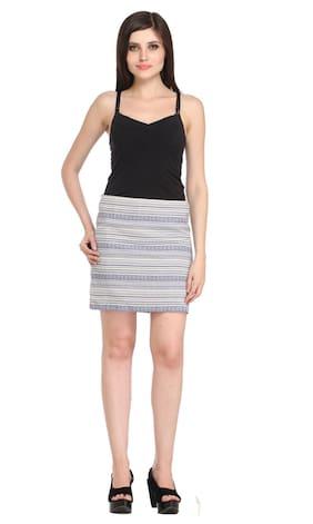 Women's Slim Fit Dual Tone Arrow Skirt - Blue