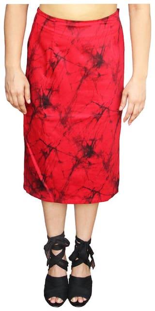 Harbinger Designs Geometric Straight skirt Midi Skirt - Red & Black