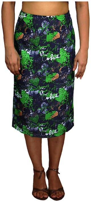 Harbinger Designs Printed & Geometric Straight skirt Midi Skirt - Blue & Green
