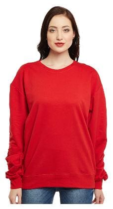 Club York Women Solid Hoodie - Red