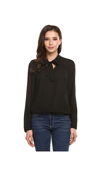 Women's Tie-Bow Neck Long Sleeve Casual Loose Chiffon Blouse
