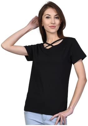 Women Solid Polo Neck Top
