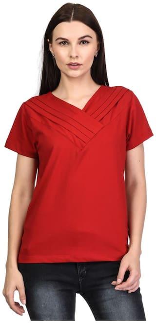 Kalt Women Solid A-line top - Red