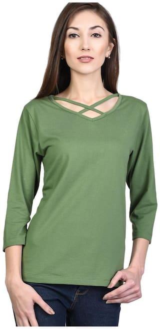 Kalt Women Printed A-line top - Green