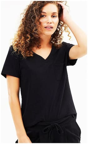 Women's V-Neck Half Sleeve Black T-Shirt
