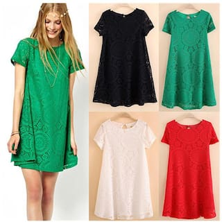Lace Dresses Loose Hollow Bottoming Women's Vintage Sleeve Dress Bohemian Short xwvgAqFS