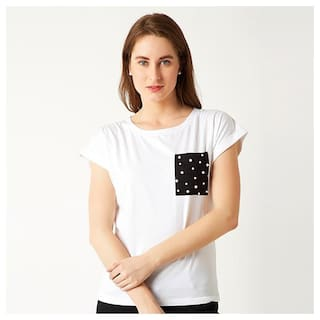 b4abba395e Women s White Round Neck Short Sleeve Cotton Solid Pearl Pocket T-Shirt