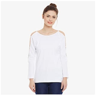 Miss Chase Women's White Full Sleeves Round Neck Solid Top
