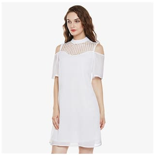 Neck Women's Shoulder Solid Miss Chase White High Cold A Dress Half Mini Sleeves Line wT5qXqvx