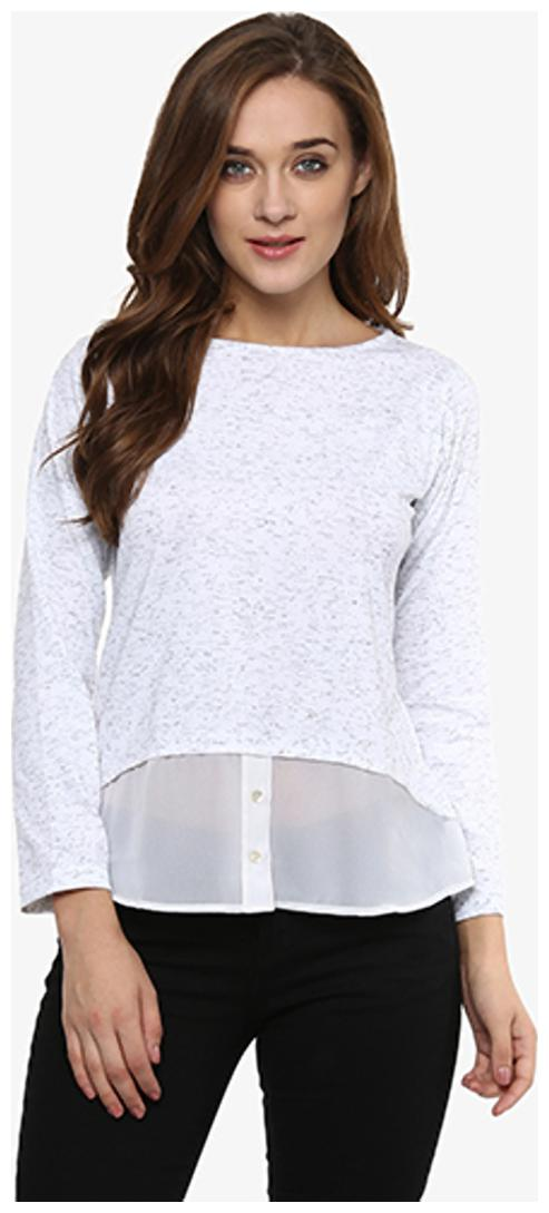 Miss Chase Women's White Solid Full Sleeve Round Neck Sheer Tops