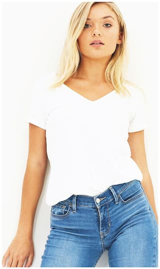 Women's White Tshirt V-Neck