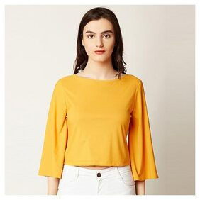 Women's Yellow Round Neck Flared 3/4 Sleeve Solid Criss Cross Tie-Up V Back Top