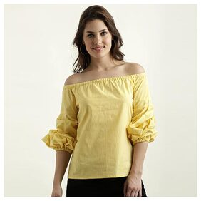 Women's Yellow And White Bardot Neck Exaggerated 3/4 Sleeve Cotton Checkered Gathered Top