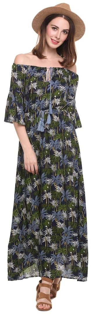 Shoulder Dress Maxi Sexy Women A Print Floral Line Sleeve Off Flare vFwnqZ4S