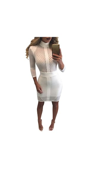 Women Sexy Stand Neck 3/4 Sleeve Solid Back Zipper Striped Slim Pencil Mini Dress