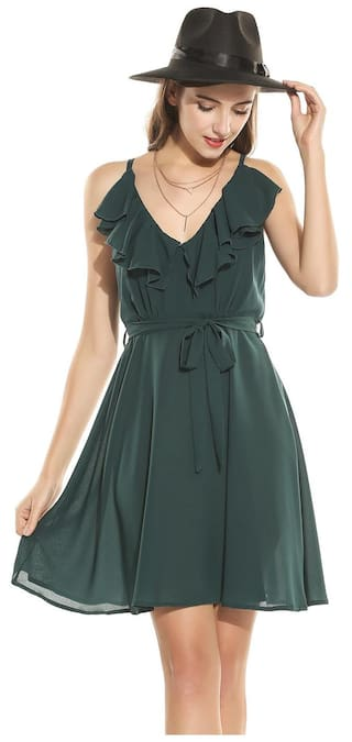 Green Chiffon Betterlife Hem Solid Dark Women Backless Cami Sexy Dress Neck Spaghetti Straps Double Pleated V Sleeveless Dress TvRTHwyq