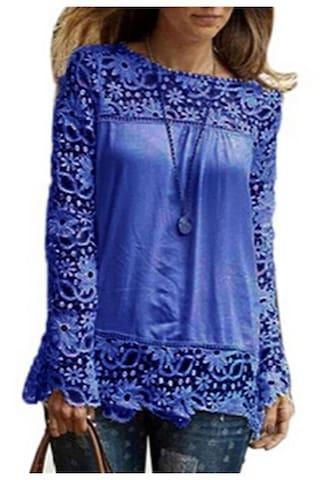 Women Sheer Sleeve Embroidery Lace Crochet Chiffon Shirt Blouse BU/S