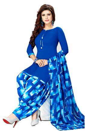 Women Shoppee Crepe Printed Dress Material - Multi