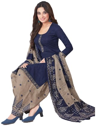 Women Shoppee's Colorful Cotton Salwar Suit Dupatta Unstiched Dress Material