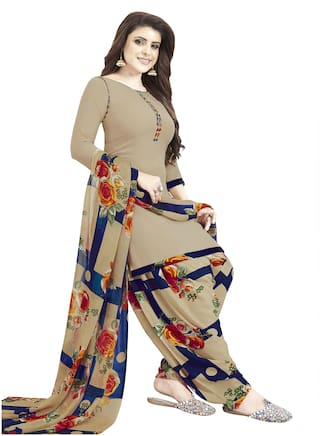 Women Shoppee Beige Unstitched Kurta with bottom & dupatta With dupatta Dress Material