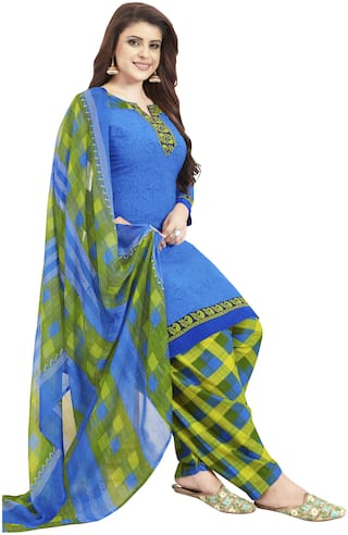 Women Shoppee Unstitched Polyester Kurta,Bottom & Dupatta Blue;Green