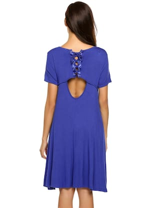 navy Up Hollow Purplish blue Casual Sleeve Solid Short Women Tunic Fit Dress Lace Back Loose xRq6Xw