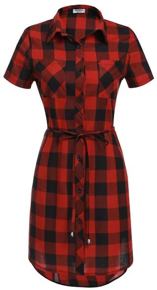 Betterlife Women Short Sleeve Plaid Belted Button Down Shirt Dress-Red&Black