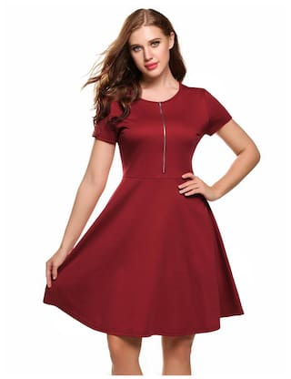 Women Front Short Solid Casual Zip Sleeve Skater Dress 88Tqf