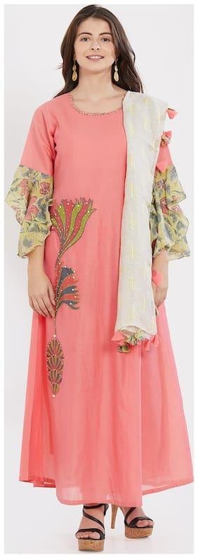 Women Silk Embroidered Pink Kurta & Churidar Set with Dupatta
