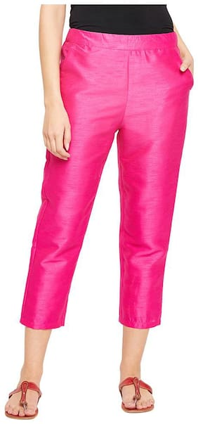 OXOLLOXO Women Mid rise Solid Regular pants - Pink