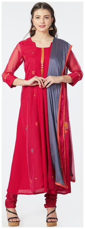 Women Silk Solid Pink Kurta & Churidar Set with Dupatta