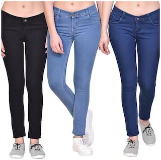 NJ's Women Black & Blue Straight fit Jeans