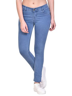 NJ's Women Regular Fit Low Rise Solid Jeans - Blue