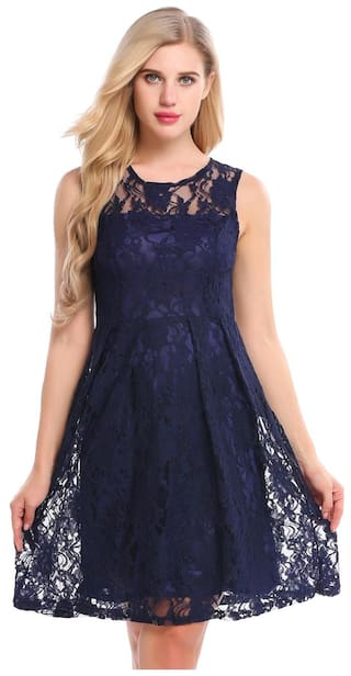Party Sleeveless and Floral Cocktail Women Lace Fit Dress Flare X4HxPw