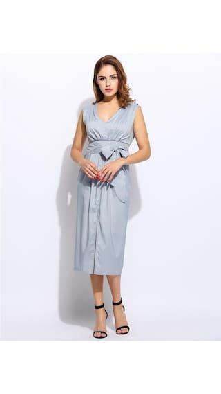 Women Casual Light Plunge Sleeveless Solid Split With Neck Belt Blue Front Dress rTOrnBqA