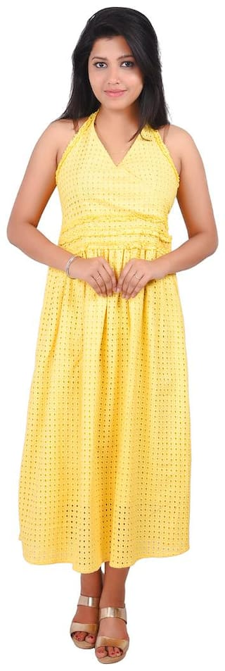 RIVI Yellow Solid Fit & flare dress