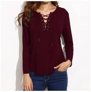 Top L Color Women T V Claret neck Solid Sleeve Long Bandage shirt wPOOx17q0