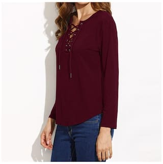 Top L Color Women T V Claret neck Solid Sleeve Long Bandage shirt wPOOx17q0