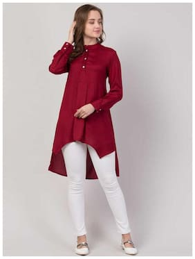 Women Solid Rayon High Low Maroon Kurta