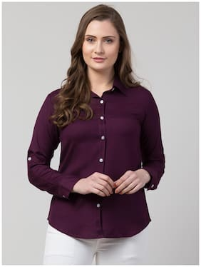 Arbiter Collection Women Purple Solid Regular Fit Shirt