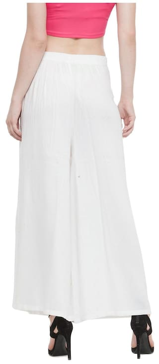 Flared with Rayon Palazzo White Band Waist Solid Women wZBqTxtg