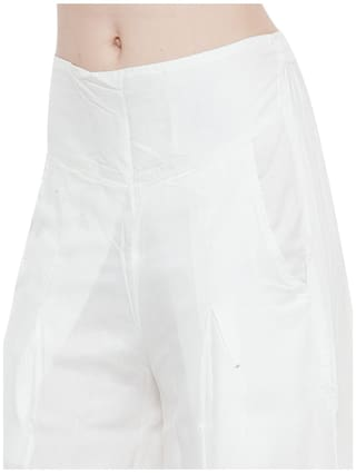 Waist Band White with Flared Solid Palazzo Women Rayon CqaZYB