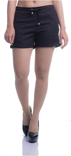 Women Stylish Casual Linen Shorts With Pockets - Black