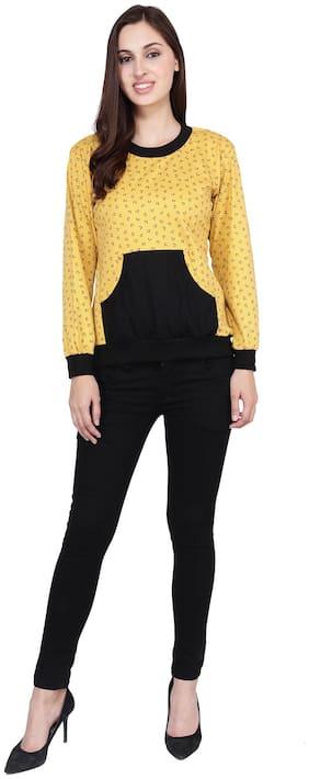 AF Affair Women Printed Sweatshirt - Yellow