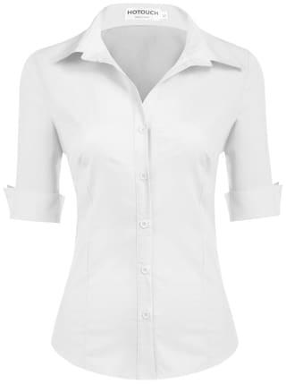 Betterlife Women Turn Down Collar Roll Up 3/4 Sleeve Plaid Slim Button Down Shirt-White