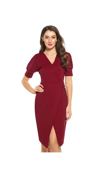 Women V-Neck Batwing Sleeve Faux Wrap Bodycon Asymmetrical Dress-Red